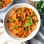A bowl of fresh red pepper pasta
