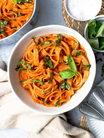 A bowl of fresh roasted red pepper pasta.
