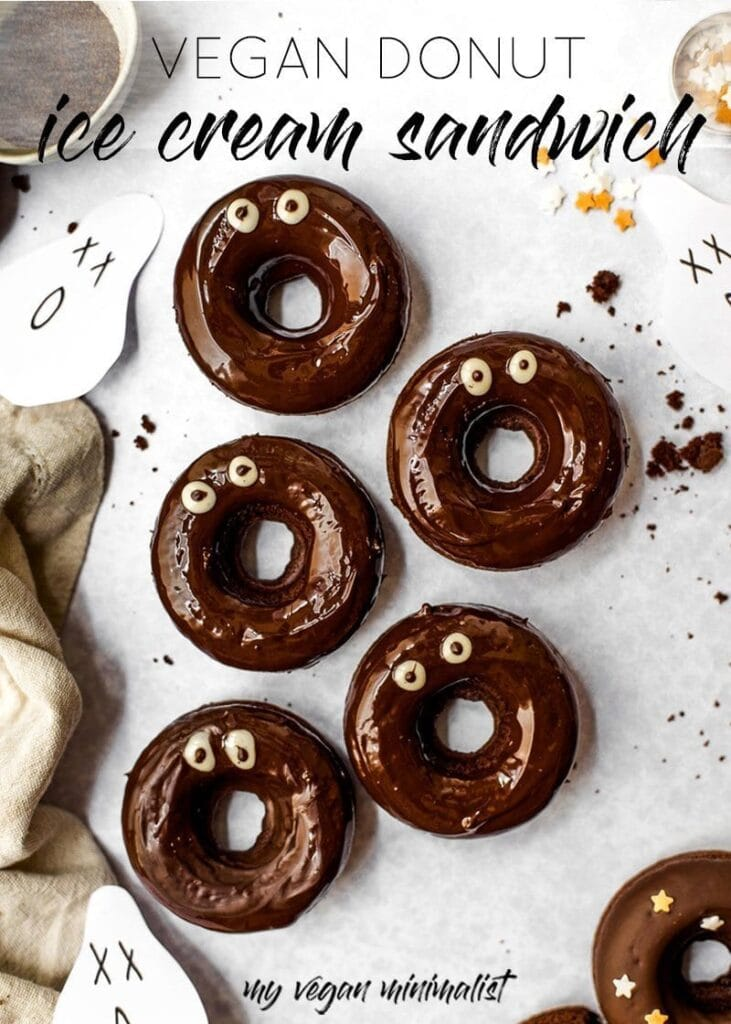 Glazed donuts with small white googly eyes