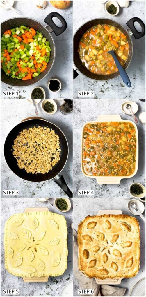 Step-by-step process of baking a vegan pie from scratch.