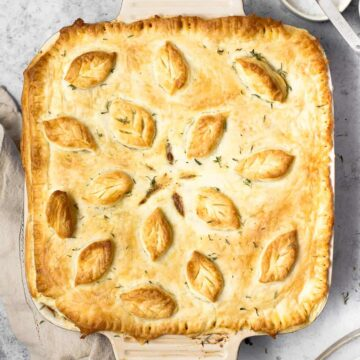 Baked vegan pot pie in a large oven dish.