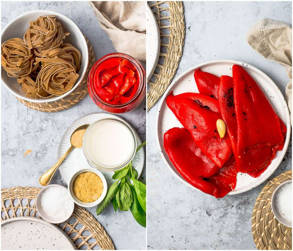 Ingredients needed to make roasted red pepper pasta