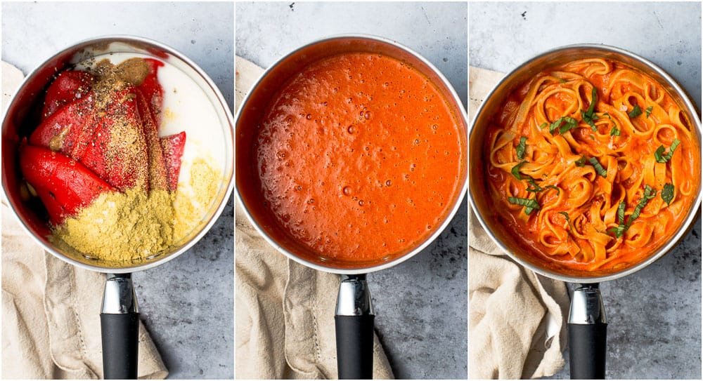 Three stages of making your pasta sauce