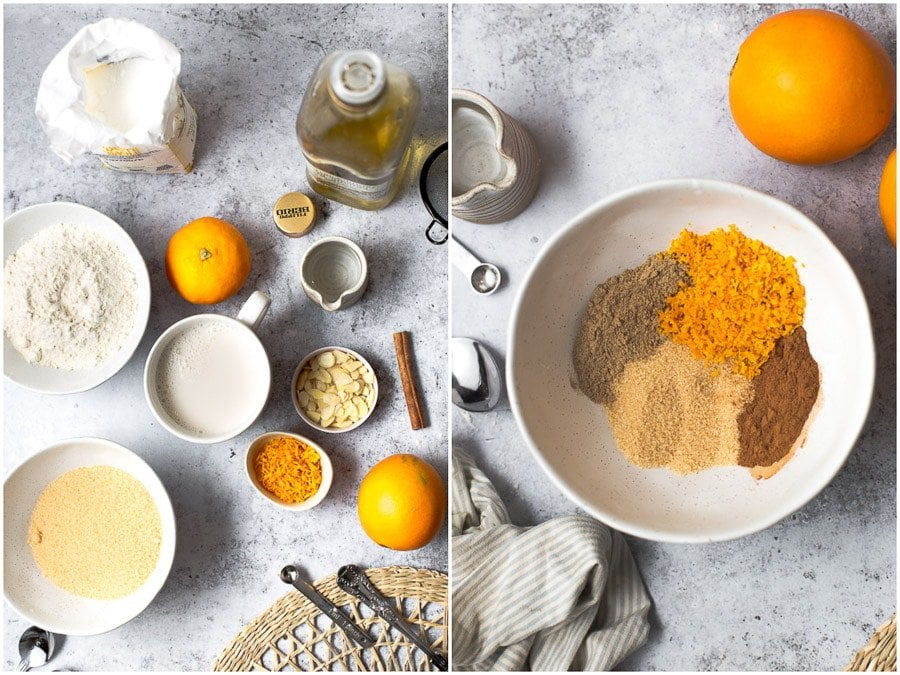 All the ingredients needed to bake an orange cardamom bun.