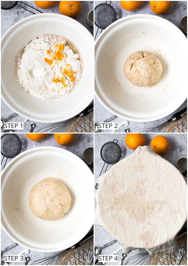 Step-by-step process of making bread dough for vegan knot buns.