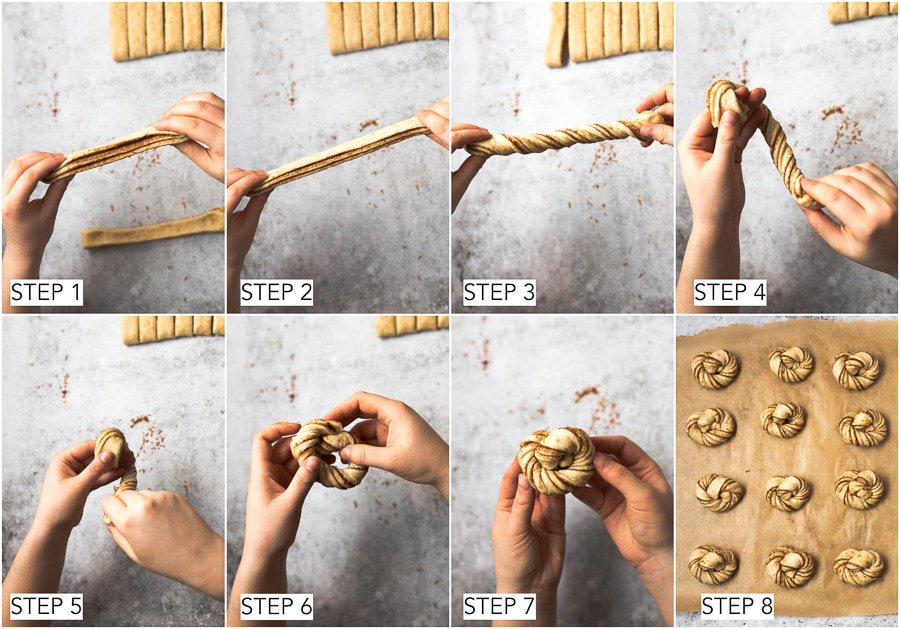8 steps in the process of forming a knot bun.