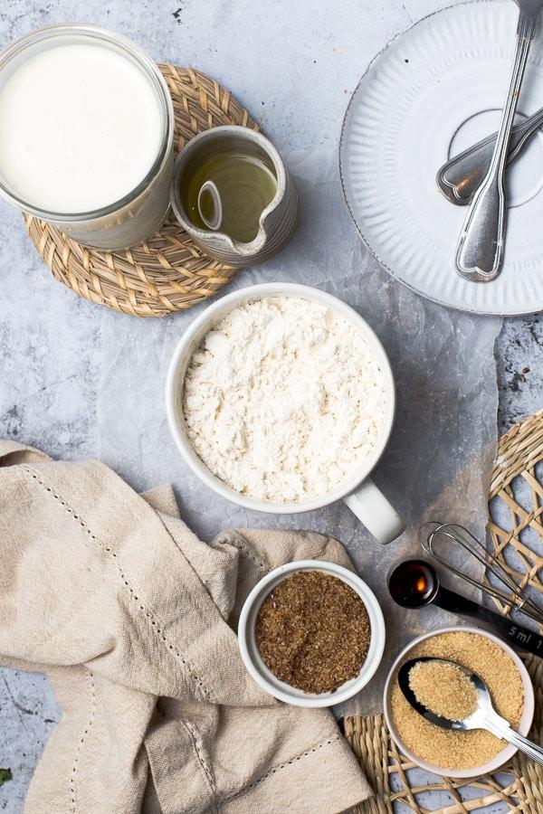 All ingredients needed to make vegan waffles.