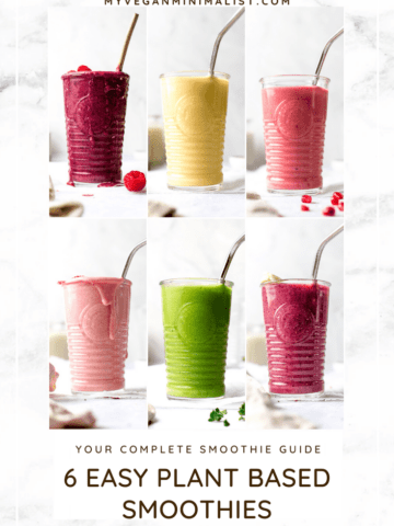 A collage of 6 plant based smoothies on a white marble background.