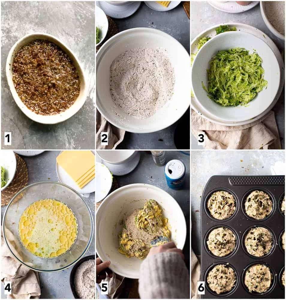 Six steps in the process of making a vegan muffin.