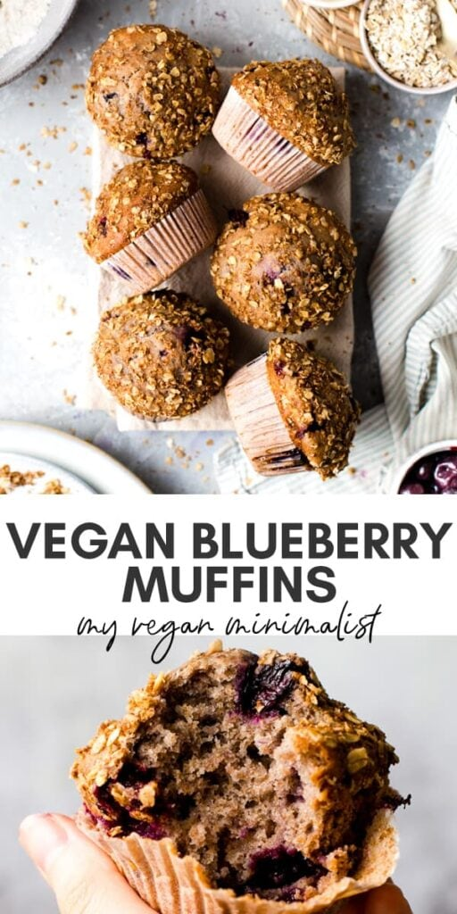 A collage of two photos of vegan blueberry muffins.