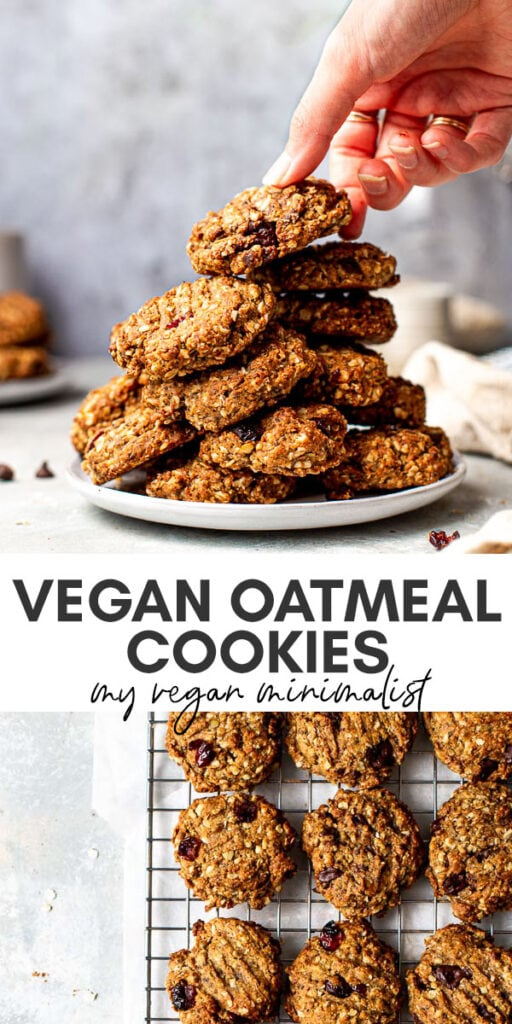A collage of two images showing vegan oatmeal cookies.