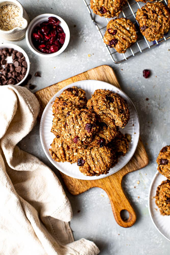 Baked oatmeal cookies on a plate.