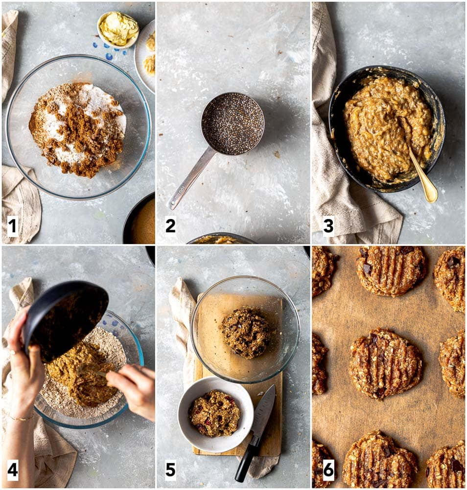 A collage of six images showing steps in making vegan oatmeal cookies.