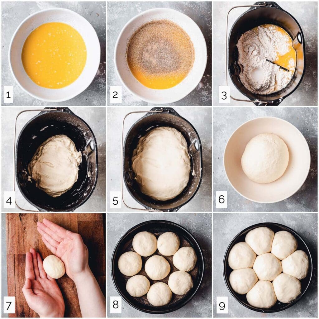 A collage of nine images showing steps in making dinner rolls.