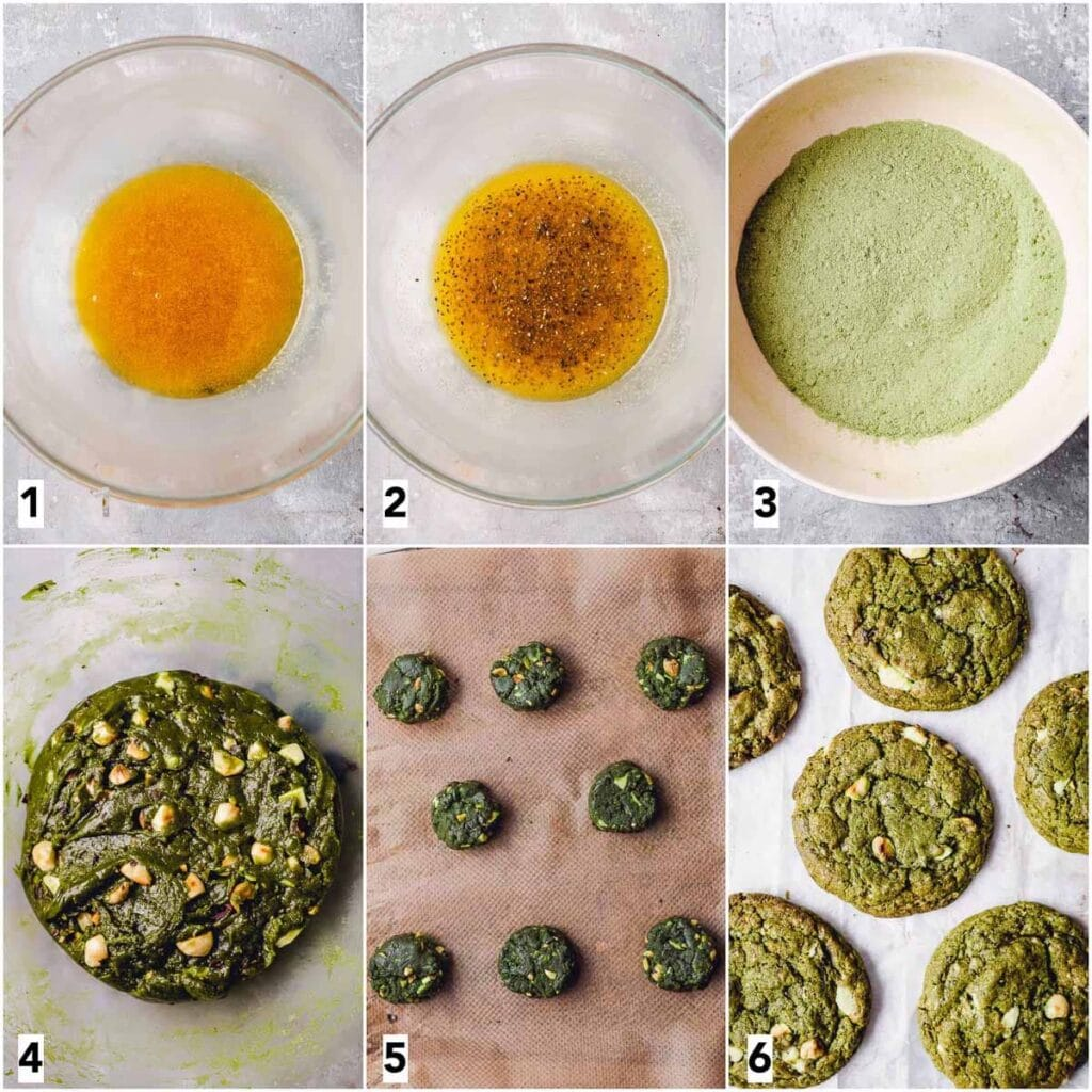 A collage of six images showing all the steps in making cookies.