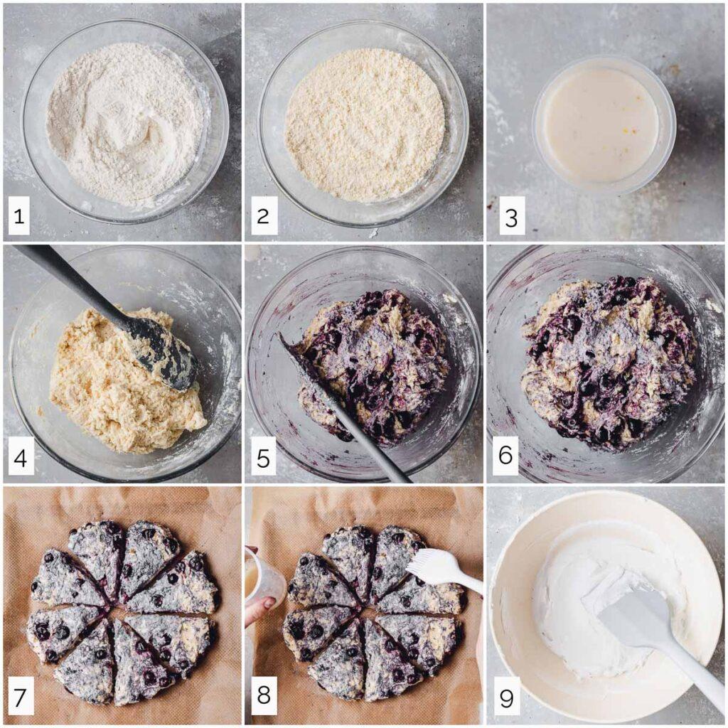 Nine steps in making vegan scones.