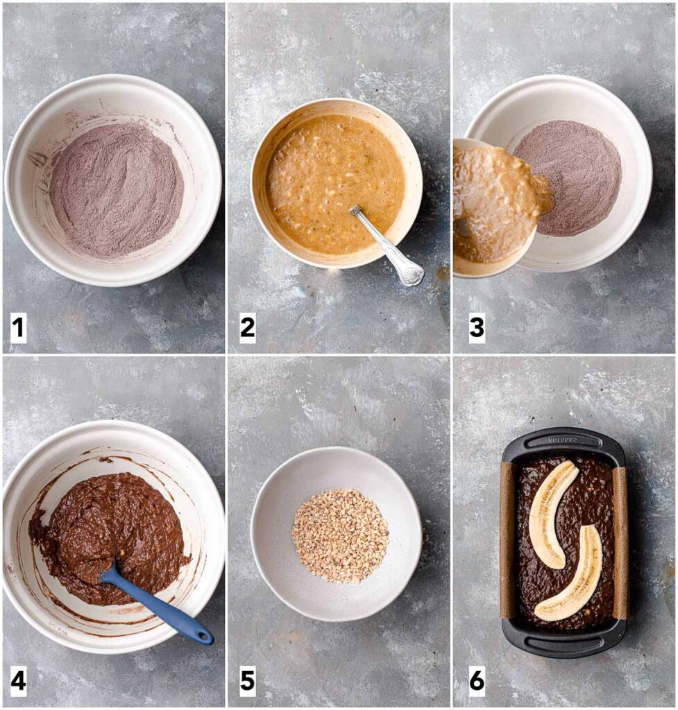 A collage of 6 images showing step in making banana bread.