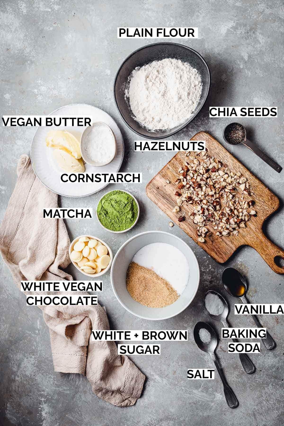 All ingredients needed to bake vegan matcha cookies.
