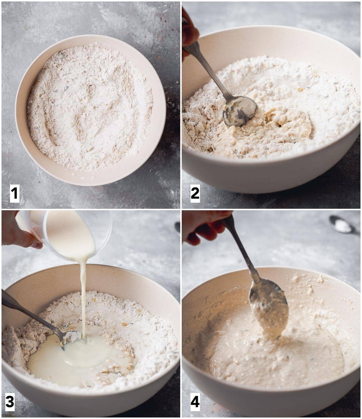 A collage of four images showing four steps in making dumpling dough.