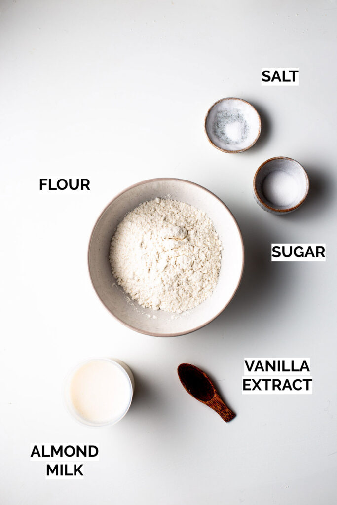All five ingredients you need to make vegan crepes.