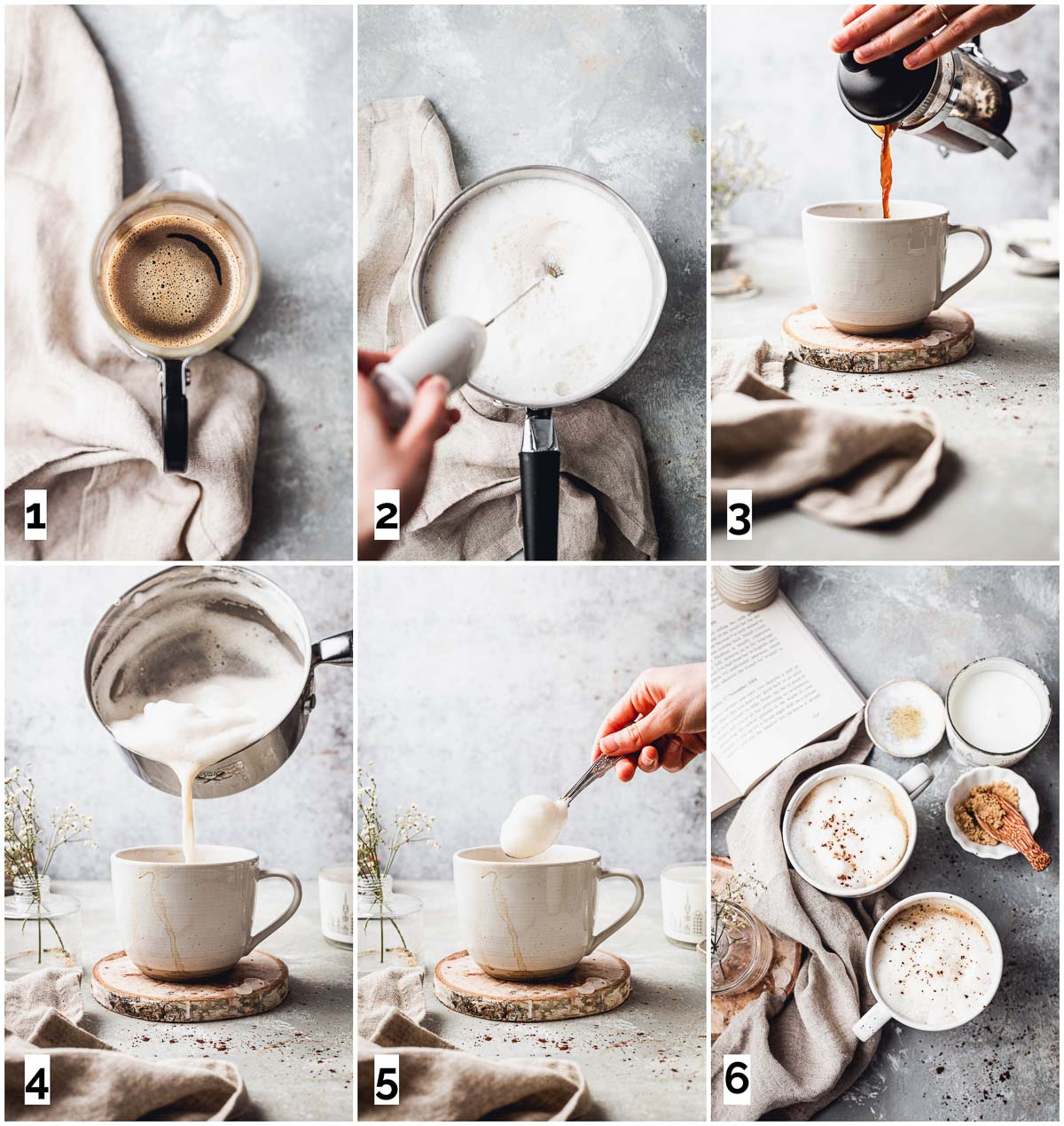 A collage of six images showing different steps in making a vegan latte.
