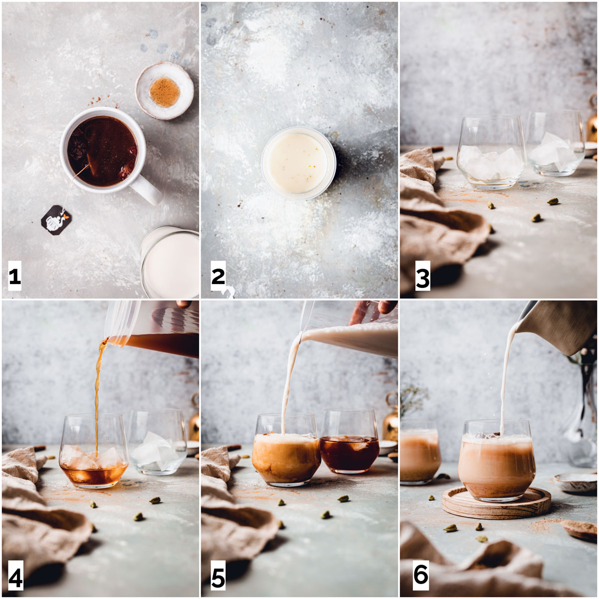 A collage of six images showing six stpes in making a vanilla chai latte.