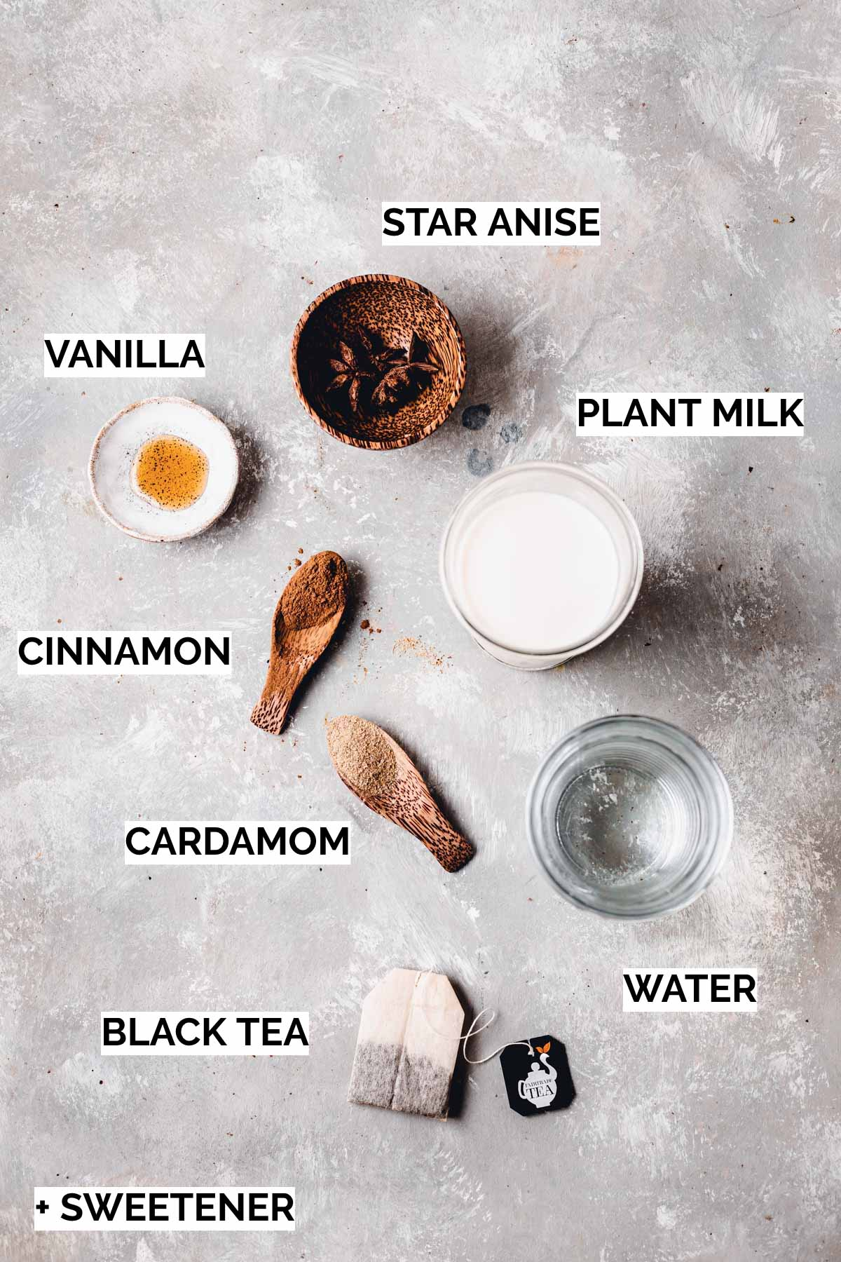 All ingredients needed to make an iced chai latte.