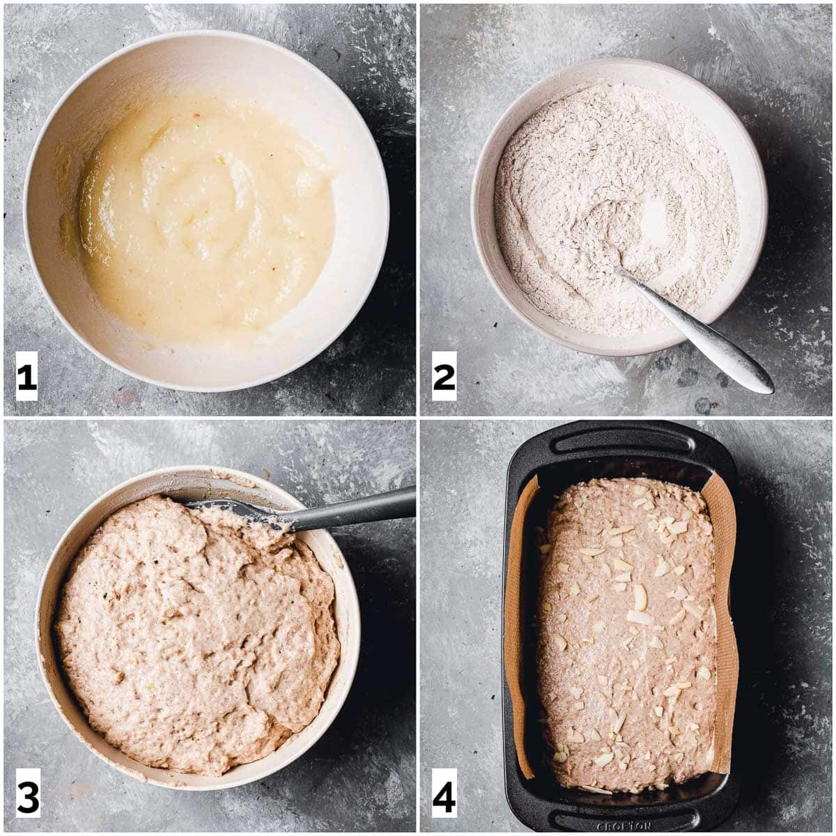 A collage of four images showing the four steps in making cake.
