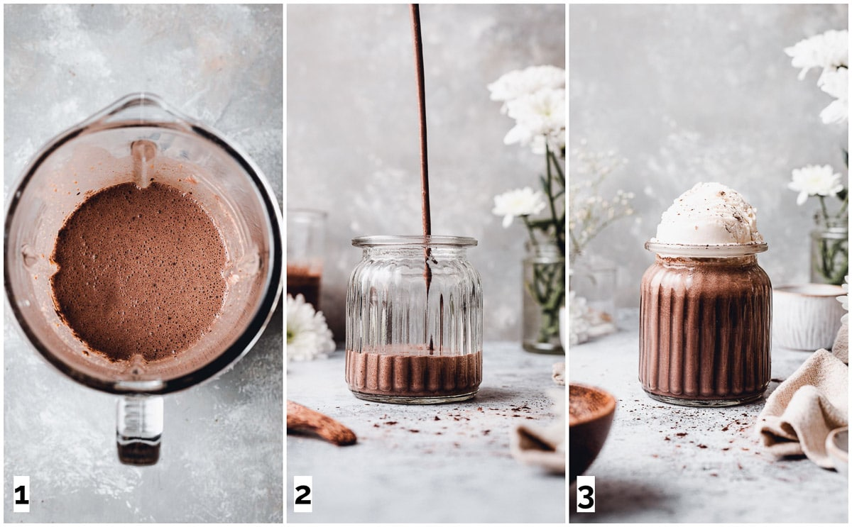 A collage of three images showing steps in making a chocolate shake.