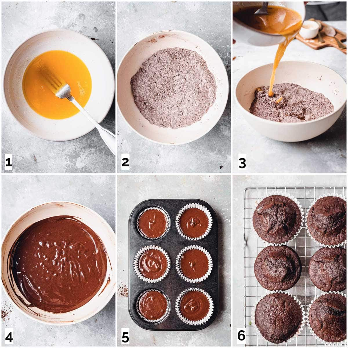 A collage of six images showing six steps in making a cupcake.