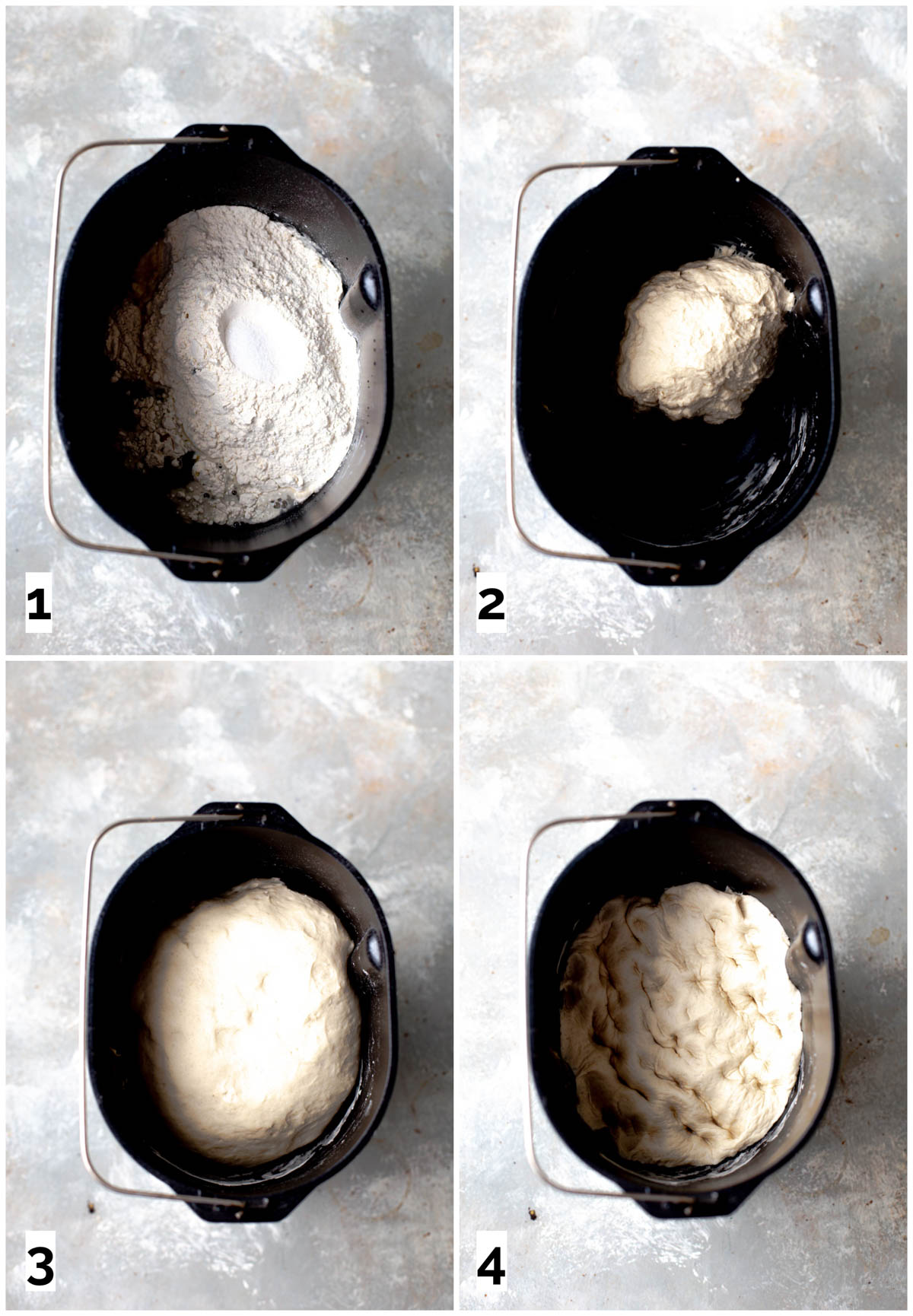 A collage of four image showing the first four steps in making bread dough.