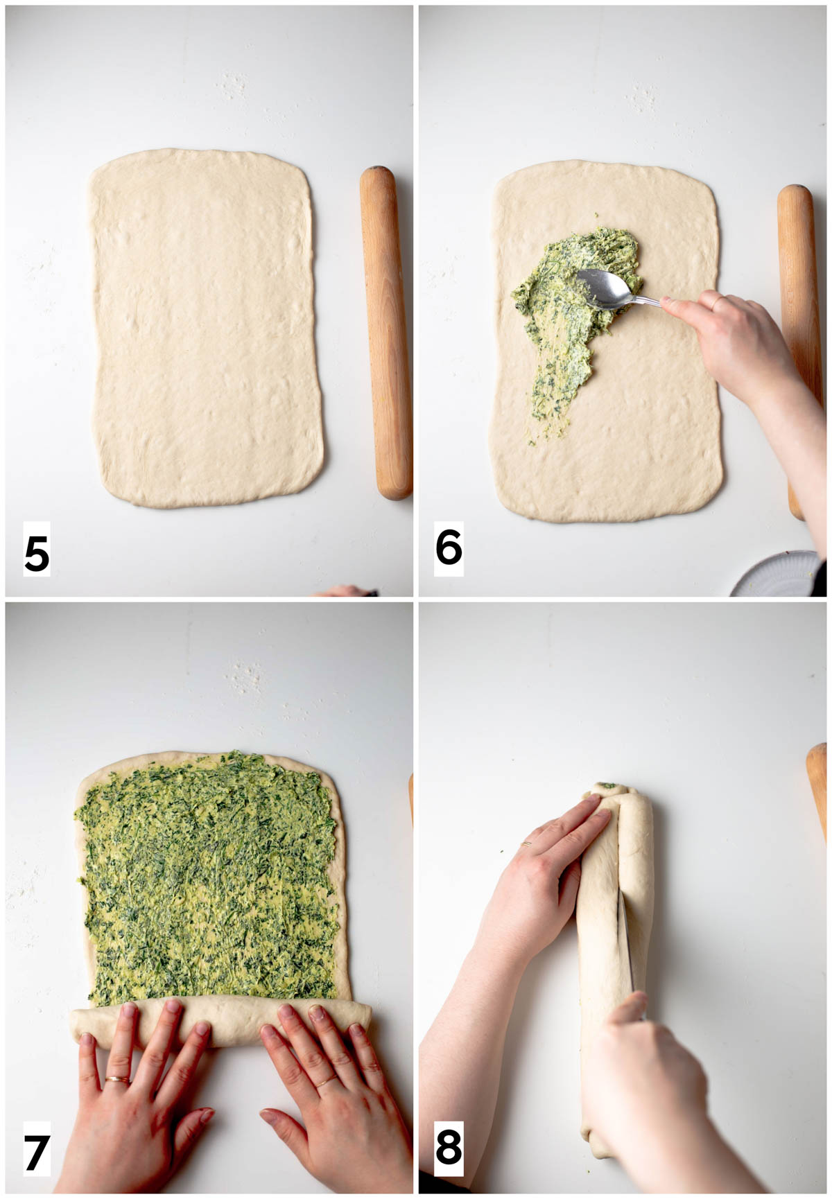 A collage of four images showing how to roll out and fill the dough.
