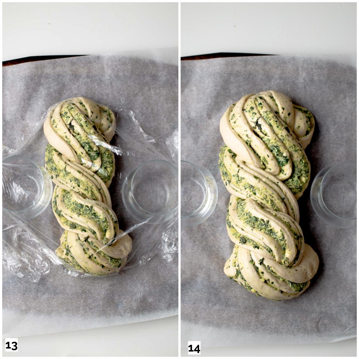 A collage of two images showing twisted garlic bread before and after rising.