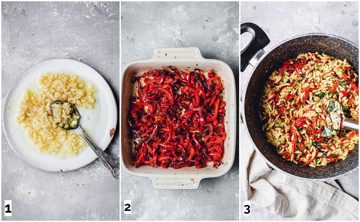The three steps in making orzo pasta.