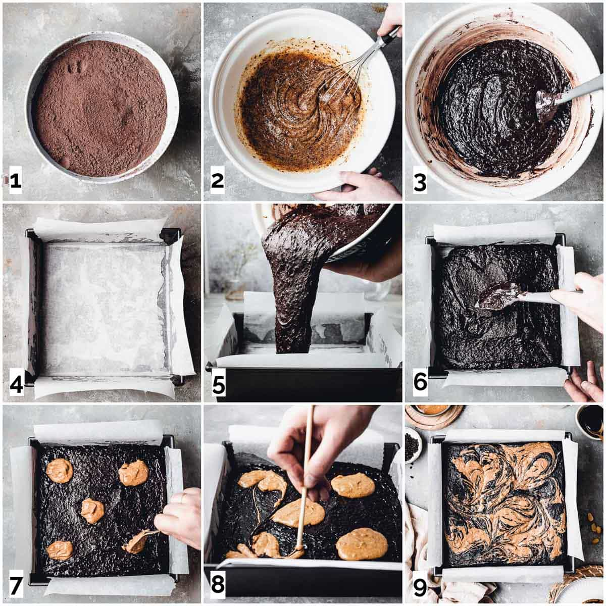 A collage of nine images showing nine steps in making chocolate brownie.