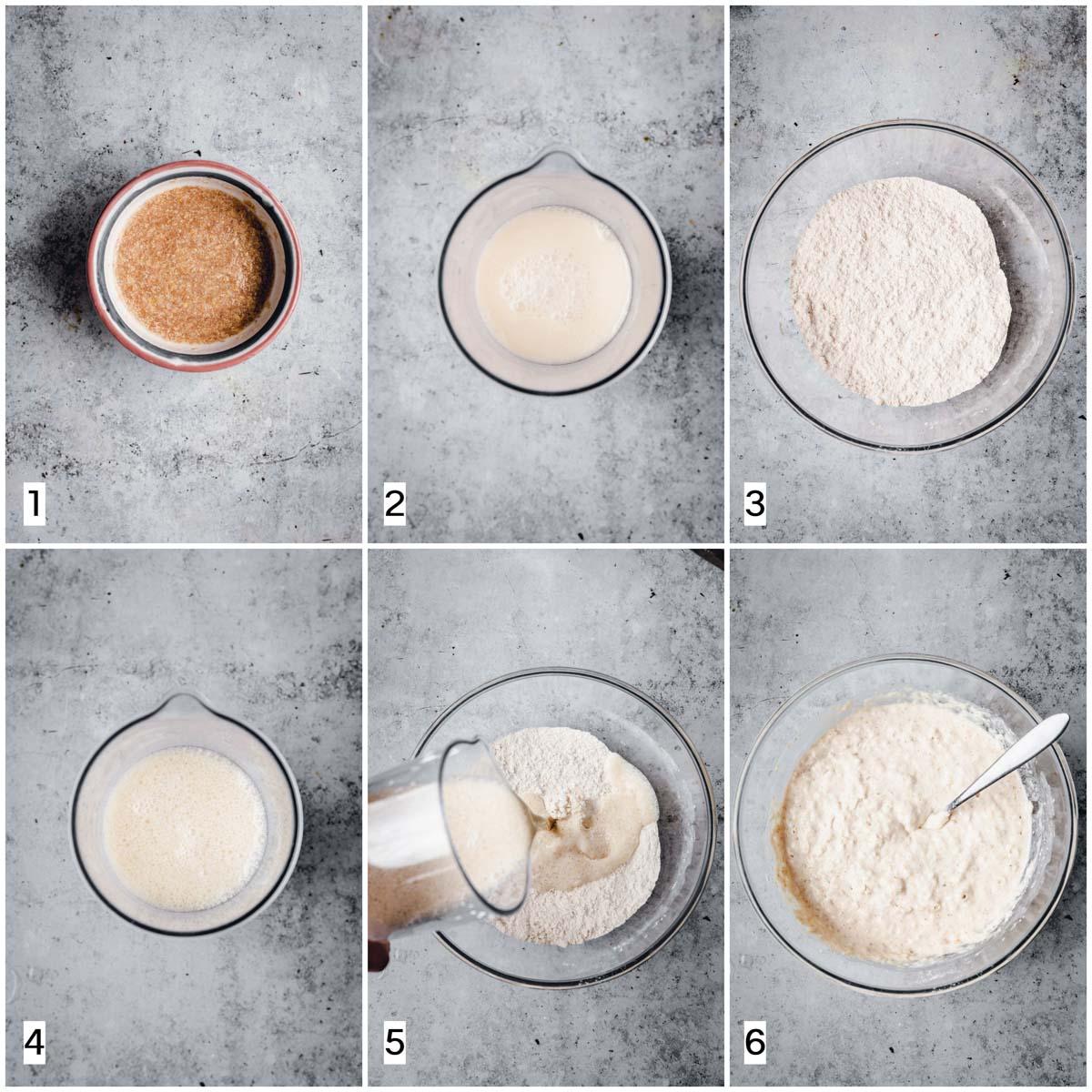 The six steps in making almond milk vegan waffles.