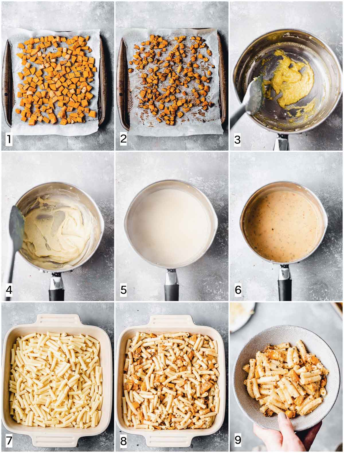 A collage of nine images showing nine steps in making mac and cheese.