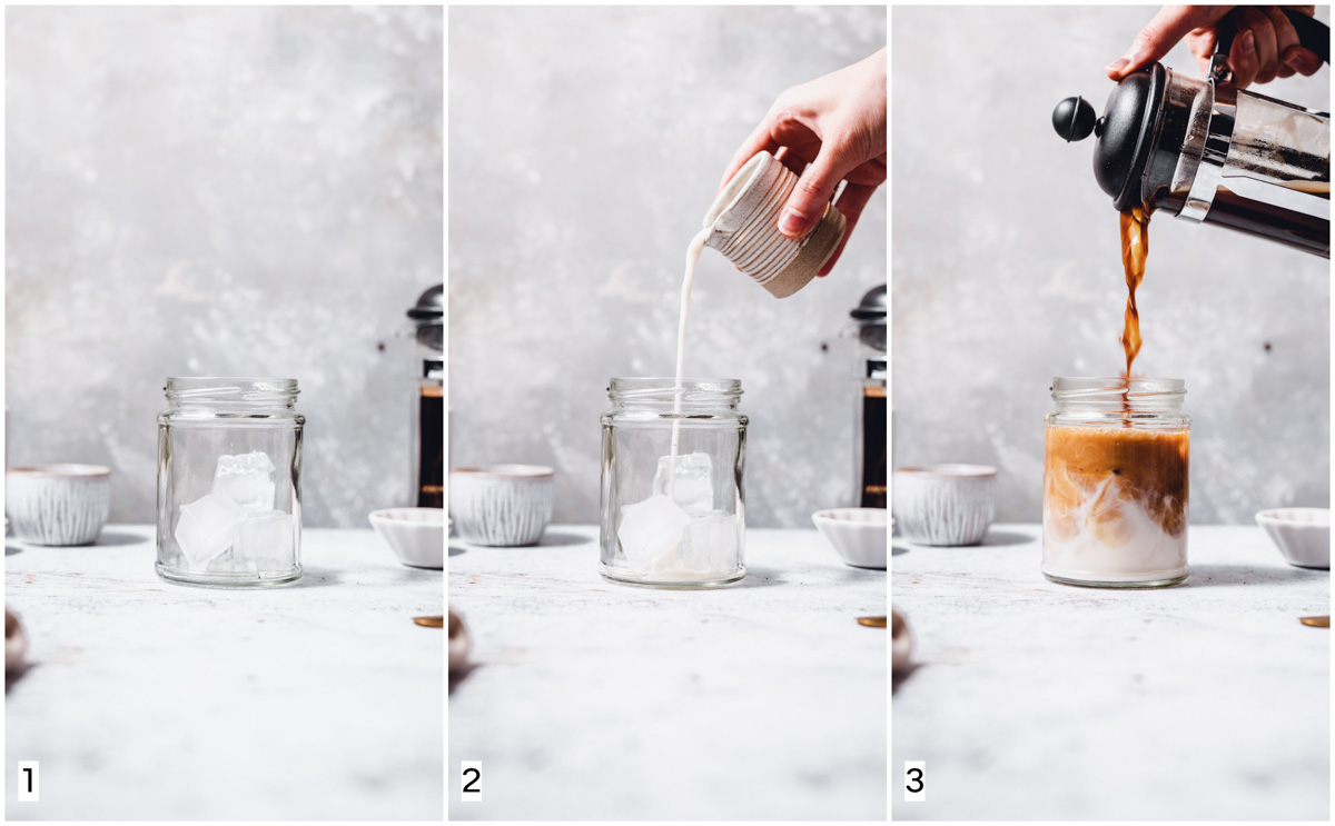 A collage of three images showing three steps in making iced coffee.