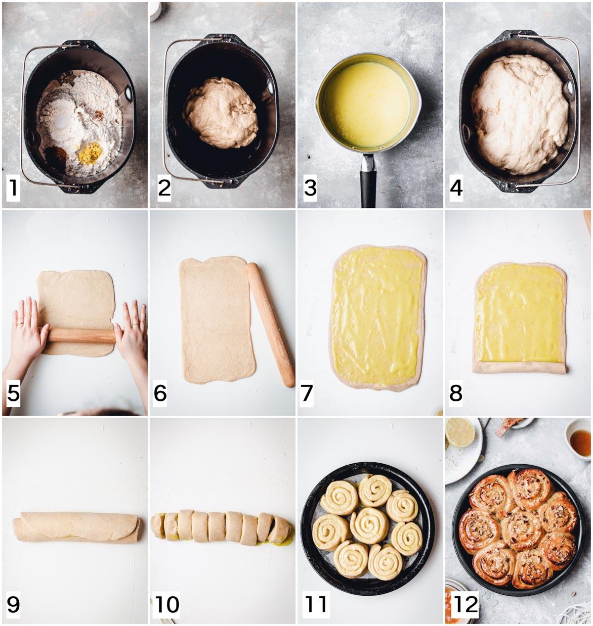 Twelve steps in making lemon curd rolls.