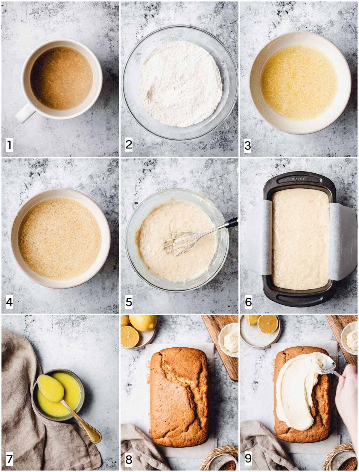 A collage of nine images showing nine steps in baking a loaf cake.