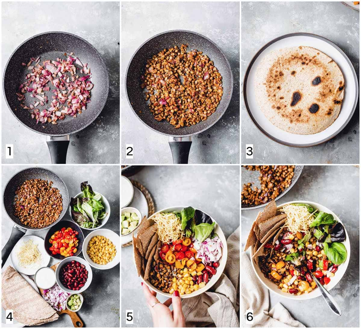 A collage of six images showing six steps in making taco salad.