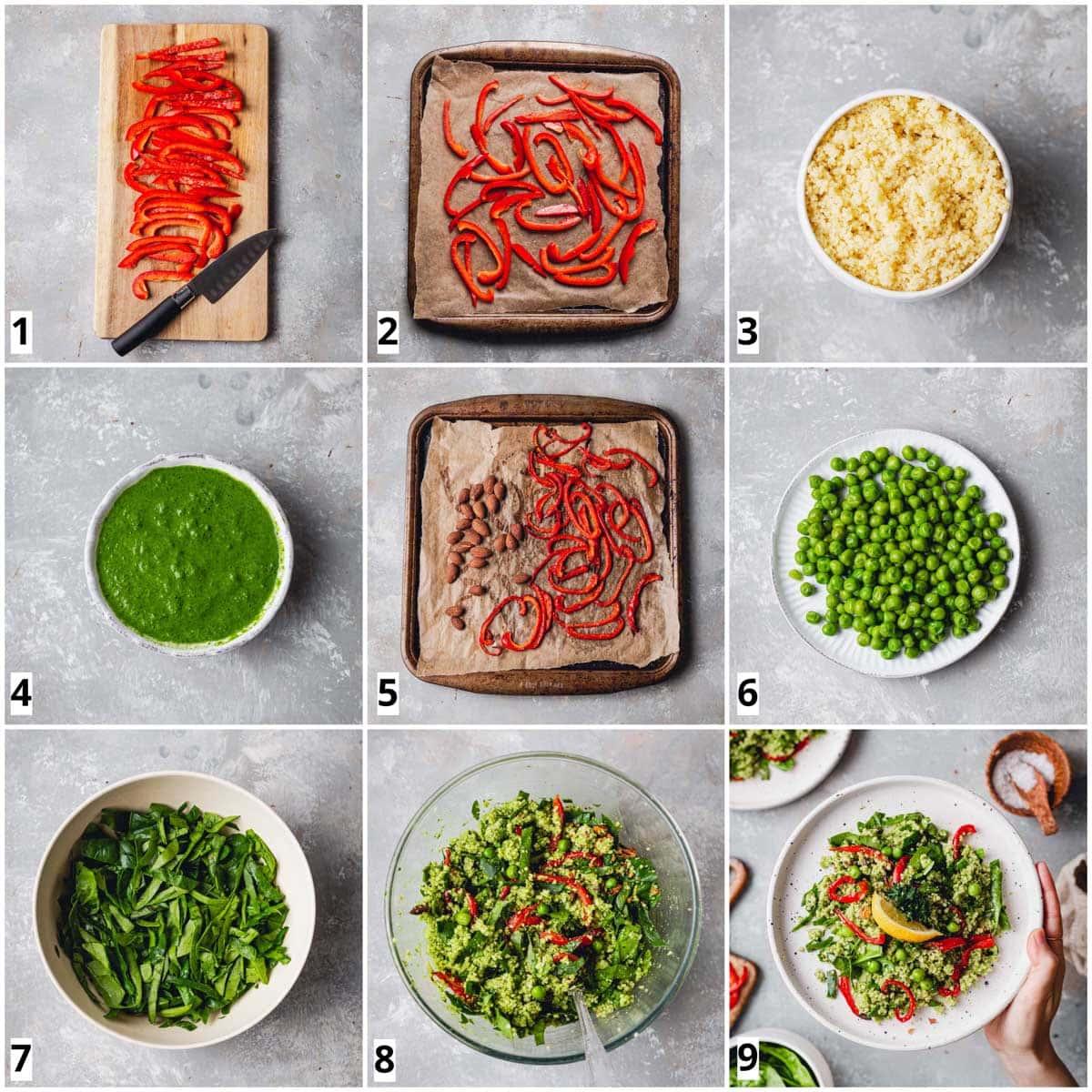 A collage of nine squares showing nine steps in making vegan salad.