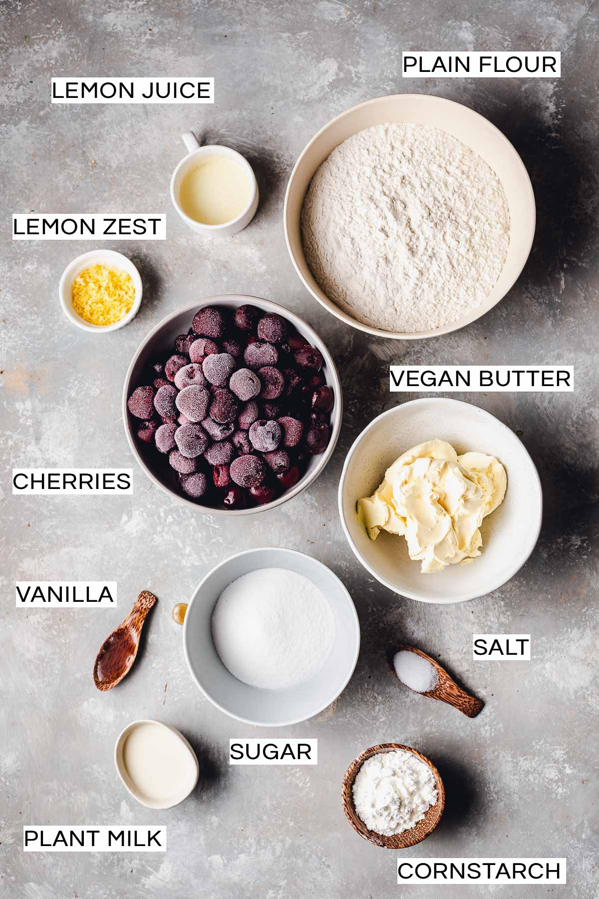 All ingredients needed to bake a cherry pie.