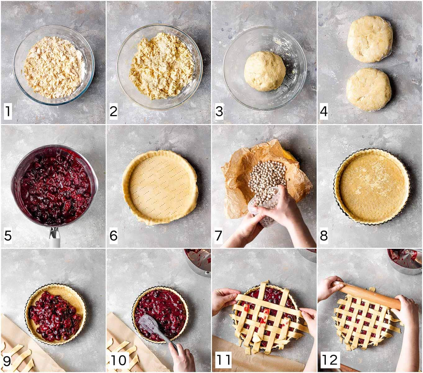 A collage of 12 images showing 12 steps in making cherry pie