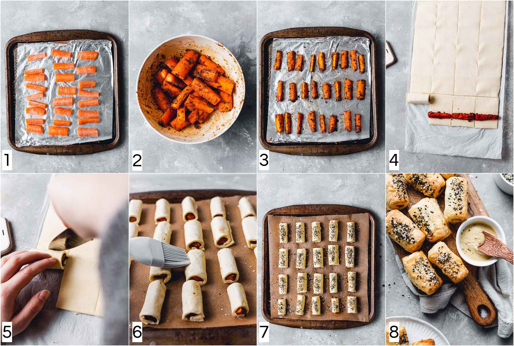 A collage of eight images showing eight steps in making vegan pigs in a blanket.