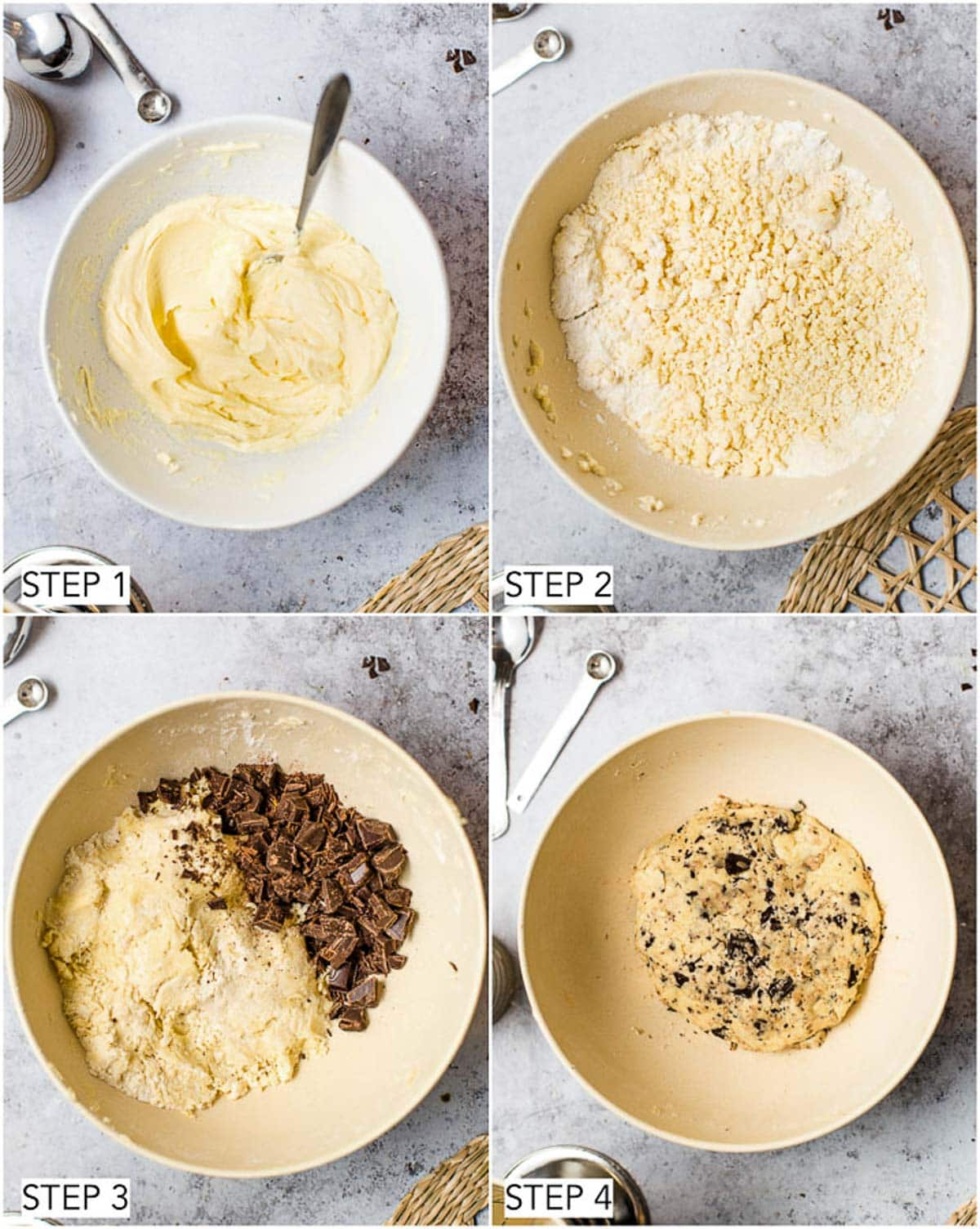 The first four steps in the process of making vegan shortbread.