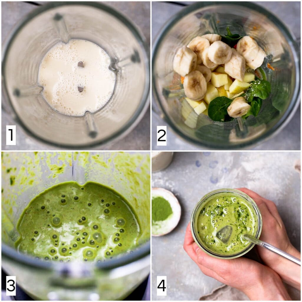 A collage of four images showing four steps in making a shake.