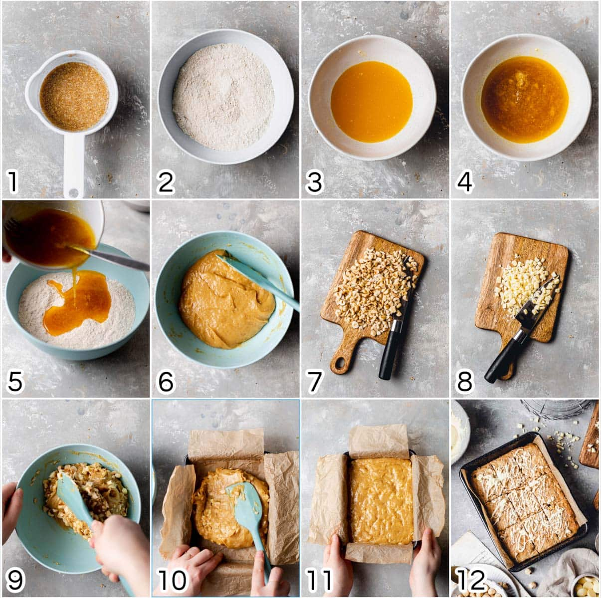 A collage of 12 images showing all the steps in baking a vegan blondie.