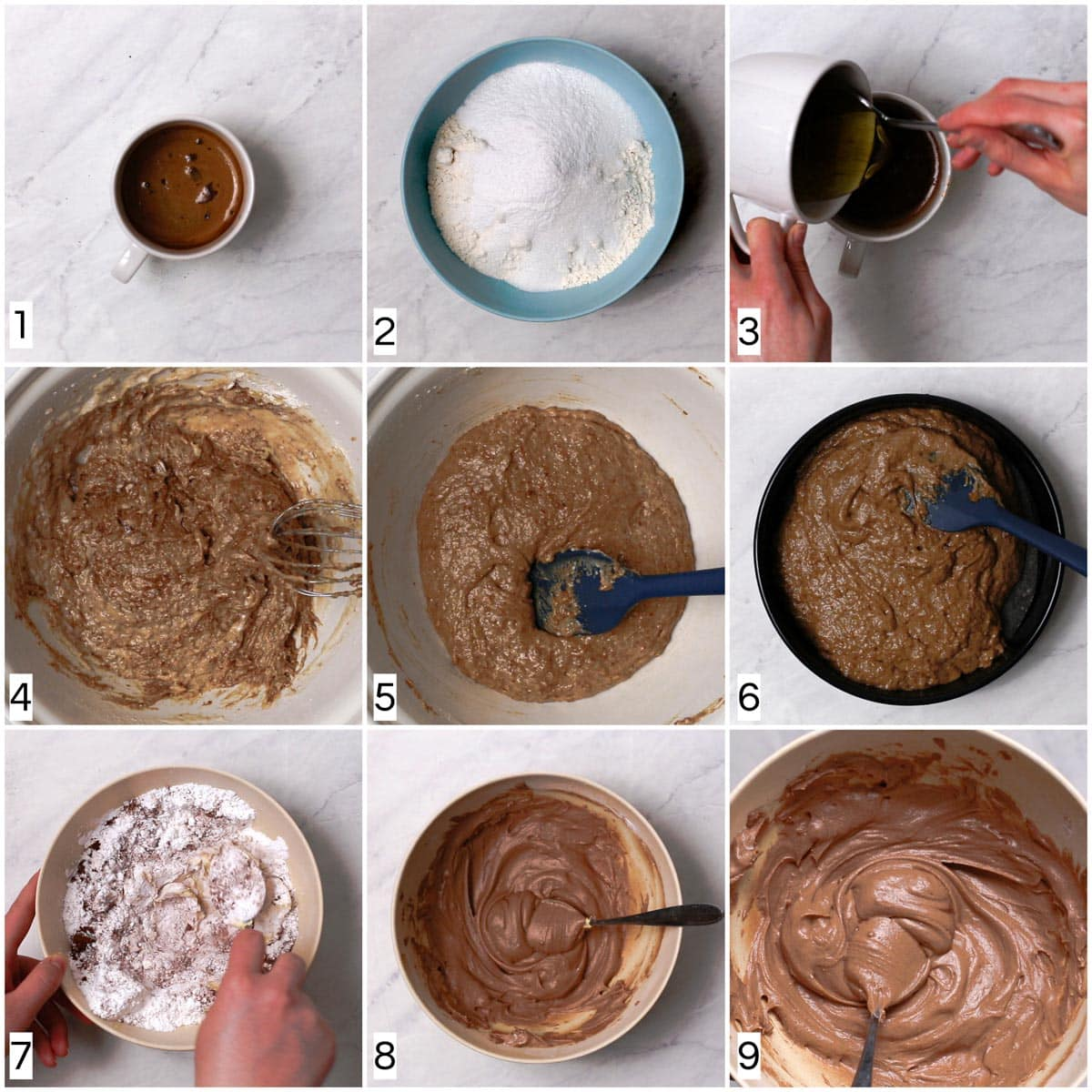 A collage of nine images showing all the steps in making a coffee cake.
