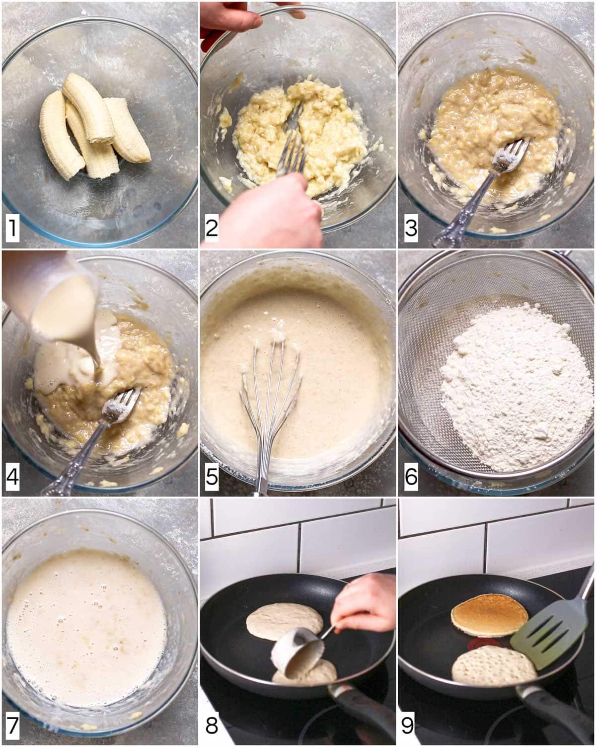 A collage of nine images showing nine steps in making vegan pancakes.